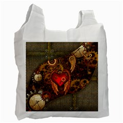 Steampunk Golden Design, Heart With Wings, Clocks And Gears Recycle Bag (two Side)  by FantasyWorld7