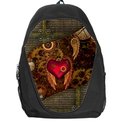 Steampunk Golden Design, Heart With Wings, Clocks And Gears Backpack Bag by FantasyWorld7