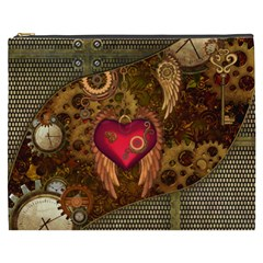 Steampunk Golden Design, Heart With Wings, Clocks And Gears Cosmetic Bag (xxxl)  by FantasyWorld7