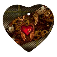 Steampunk Golden Design, Heart With Wings, Clocks And Gears Ornament (heart) by FantasyWorld7