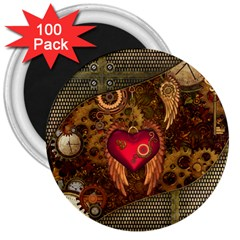 Steampunk Golden Design, Heart With Wings, Clocks And Gears 3  Magnets (100 Pack) by FantasyWorld7