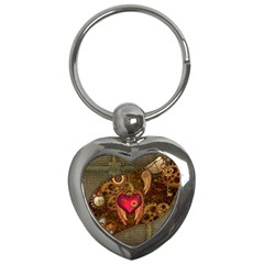 Steampunk Golden Design, Heart With Wings, Clocks And Gears Key Chains (heart)  by FantasyWorld7