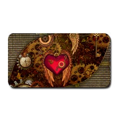 Steampunk Golden Design, Heart With Wings, Clocks And Gears Medium Bar Mats by FantasyWorld7