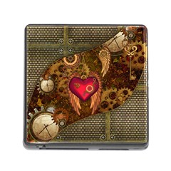 Steampunk Golden Design, Heart With Wings, Clocks And Gears Memory Card Reader (square) by FantasyWorld7