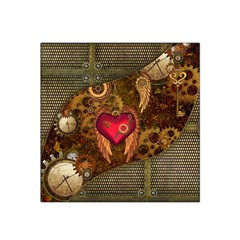 Steampunk Golden Design, Heart With Wings, Clocks And Gears Satin Bandana Scarf by FantasyWorld7