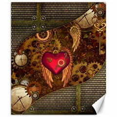 Steampunk Golden Design, Heart With Wings, Clocks And Gears Canvas 8  X 10  by FantasyWorld7