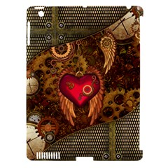 Steampunk Golden Design, Heart With Wings, Clocks And Gears Apple Ipad 3/4 Hardshell Case (compatible With Smart Cover) by FantasyWorld7