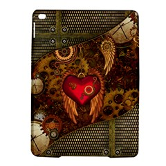Steampunk Golden Design, Heart With Wings, Clocks And Gears Ipad Air 2 Hardshell Cases by FantasyWorld7