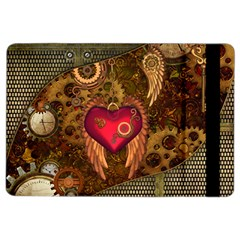 Steampunk Golden Design, Heart With Wings, Clocks And Gears Ipad Air 2 Flip by FantasyWorld7