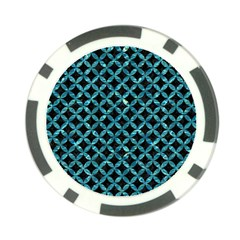 Circles3 Black Marble & Blue Green Water Poker Chip Card Guard by trendistuff