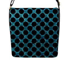 Circles2 Black Marble & Blue Green Water (r) Flap Closure Messenger Bag (l) by trendistuff