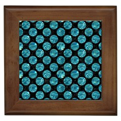 Circles2 Black Marble & Blue Green Water Framed Tile by trendistuff