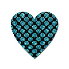 Circles2 Black Marble & Blue Green Water Magnet (heart) by trendistuff