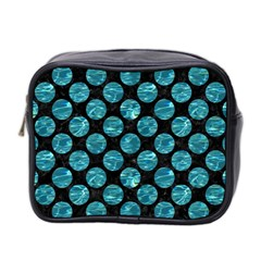 Circles2 Black Marble & Blue Green Water Mini Toiletries Bag (two Sides) by trendistuff