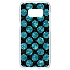 Circles2 Black Marble & Blue Green Water Samsung Galaxy S8 White Seamless Case by trendistuff