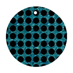 Circles1 Black Marble & Blue Green Water (r) Round Ornament (two Sides) by trendistuff