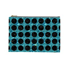 Circles1 Black Marble & Blue Green Water (r) Cosmetic Bag (large) by trendistuff