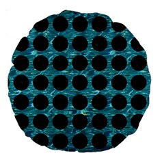 Circles1 Black Marble & Blue Green Water (r) Large 18  Premium Round Cushion  by trendistuff