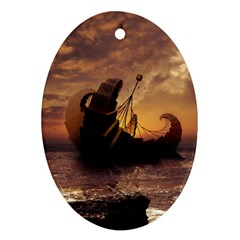 Steampunk Fractalscape, A Ship For All Destinations Ornament (oval) by jayaprime