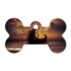 Steampunk Fractalscape, A Ship For All Destinations Dog Tag Bone (one Side) by beautifulfractals