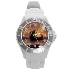 Steampunk Fractalscape, A Ship For All Destinations Round Plastic Sport Watch (l) by jayaprime