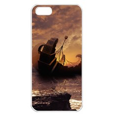 Steampunk Fractalscape, A Ship For All Destinations Apple Iphone 5 Seamless Case (white) by jayaprime