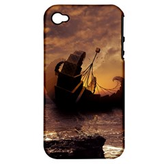 Steampunk Fractalscape, A Ship For All Destinations Apple Iphone 4/4s Hardshell Case (pc+silicone) by beautifulfractals
