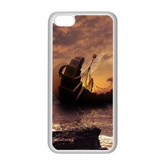Steampunk Fractalscape, A Ship For All Destinations Apple Iphone 5c Seamless Case (white) by jayaprime
