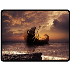 Steampunk Fractalscape, A Ship For All Destinations Double Sided Fleece Blanket (large)  by jayaprime