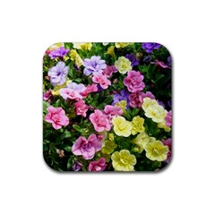 Lovely Flowers 17 Rubber Coaster (square)  by MoreColorsinLife
