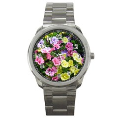 Lovely Flowers 17 Sport Metal Watch by MoreColorsinLife