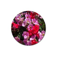 Wonderful Pink Flower Mix Magnet 3  (round) by MoreColorsinLife