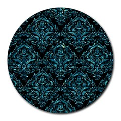 Damask1 Black Marble & Blue Green Water Round Mousepad by trendistuff