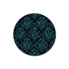 Damask1 Black Marble & Blue Green Water Rubber Coaster (round) by trendistuff