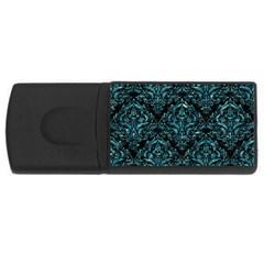Damask1 Black Marble & Blue Green Water Usb Flash Drive Rectangular (4 Gb) by trendistuff