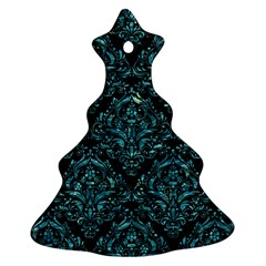 Damask1 Black Marble & Blue Green Water Christmas Tree Ornament (two Sides) by trendistuff