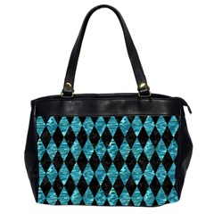 Diamond1 Black Marble & Blue Green Water Oversize Office Handbag (2 Sides) by trendistuff