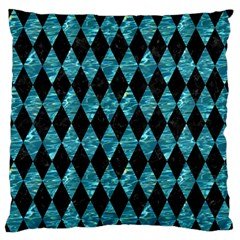 Diamond1 Black Marble & Blue Green Water Large Flano Cushion Case (one Side) by trendistuff