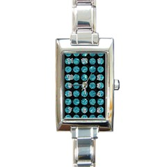 Circles1 Black Marble & Blue Green Water Rectangle Italian Charm Watch by trendistuff