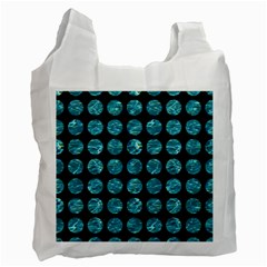 Circles1 Black Marble & Blue Green Water Recycle Bag (one Side) by trendistuff