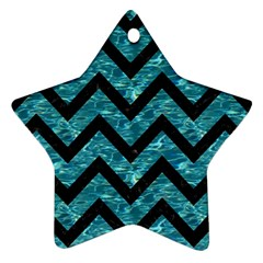Chevron9 Black Marble & Blue Green Water (r) Star Ornament (two Sides) by trendistuff
