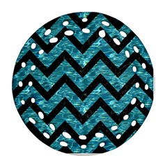 Chevron9 Black Marble & Blue Green Water (r) Round Filigree Ornament (two Sides) by trendistuff