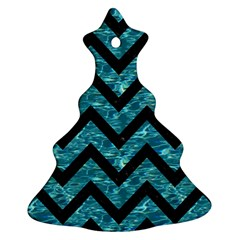 Chevron9 Black Marble & Blue Green Water (r) Christmas Tree Ornament (two Sides) by trendistuff