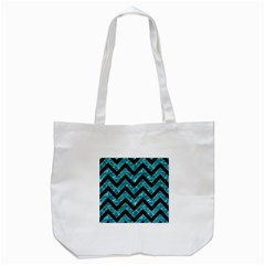 Chevron9 Black Marble & Blue Green Water (r) Tote Bag (white) by trendistuff