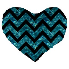 Chevron9 Black Marble & Blue Green Water (r) Large 19  Premium Flano Heart Shape Cushion by trendistuff