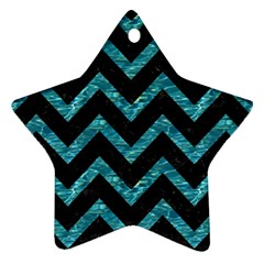 Chevron9 Black Marble & Blue Green Water Star Ornament (two Sides) by trendistuff