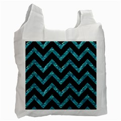 Chevron9 Black Marble & Blue Green Water Recycle Bag (one Side) by trendistuff