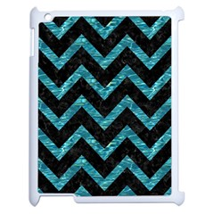 Chevron9 Black Marble & Blue Green Water Apple Ipad 2 Case (white) by trendistuff