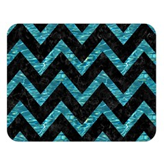 Chevron9 Black Marble & Blue Green Water Double Sided Flano Blanket (large) by trendistuff