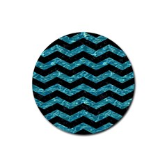 Chevron3 Black Marble & Blue Green Water Rubber Coaster (round) by trendistuff
